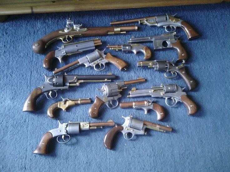 A selection of Steampunk guns