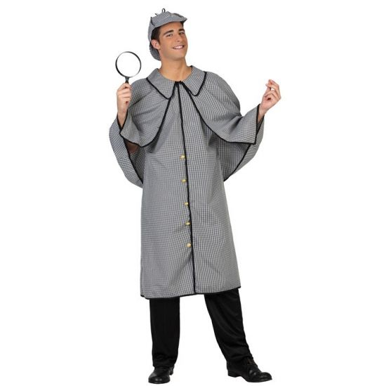 Detective Sherlock kostuum. Ouderwets detective kostuum voor heren, inclusief lange jas en pet. Dit kostuum is een one size, ongeveer maat M/L. Carnavalskleding 2015 #carnaval