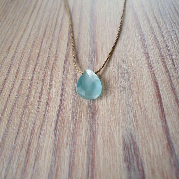 Light blue Cats Eye teardrop pendant, glass faceted stone, silk cord choker, minimal necklace, floating stone, simple beaded choker, jewelry