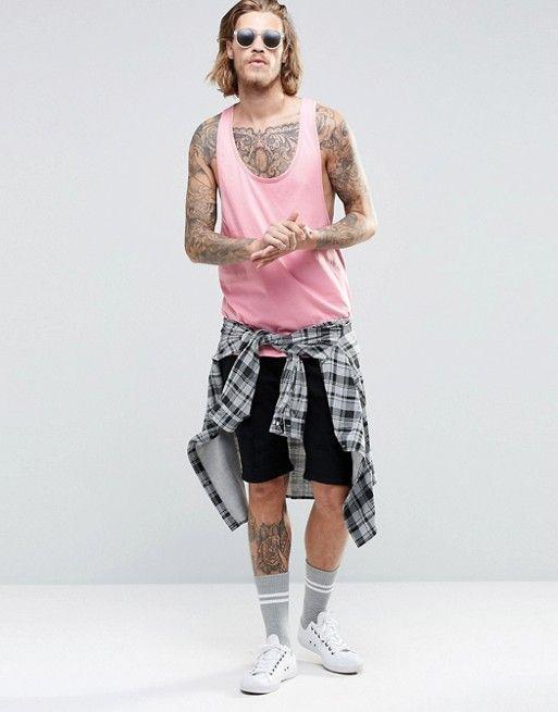 ASOS | Camiseta sin mangas rosa con espalda de nadador extrema de ASOS
