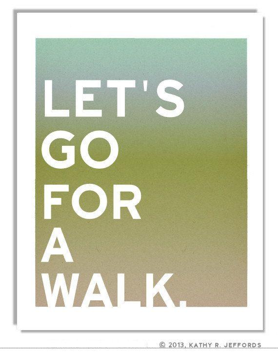 Digital Print  Let's Go For A Walk  A Healthy by thedreamygiraffe, $18.00