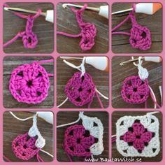 Granny squares - DIY  Easy to follow tutorial with photos step by step http://bautawitch.se/2013/08/10/diy-mormorsrutor/