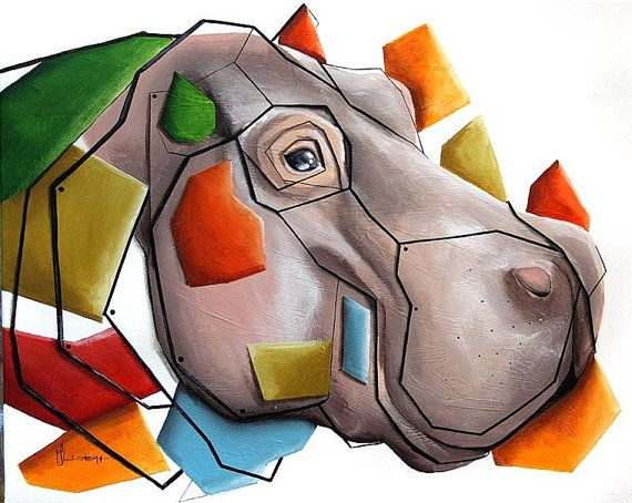 Geometric hippo 50x40 by SztuknijSie on Etsy