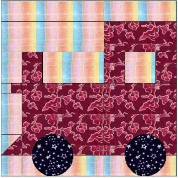 Paper Piercing quilt patterns | ALL STITCHES - TRAIN PAPER PIECING QUILT BLOCK PATTERN .PDF -079A