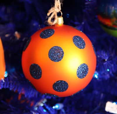 Orange Ornament with Blue Glitter Polka Dots - The perfect touch of Auburn to your tree.