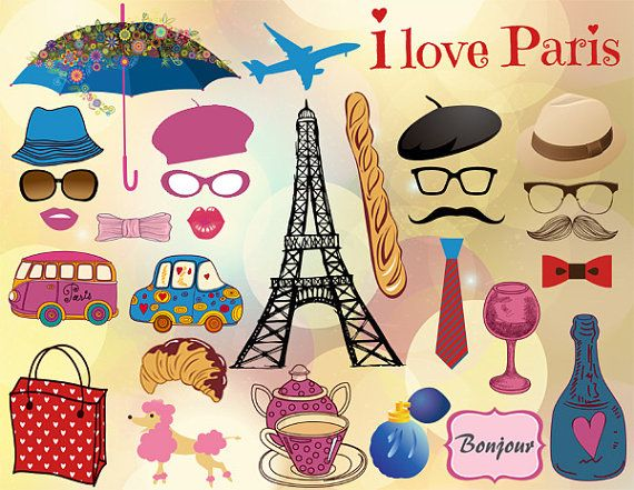 Printable French Party Photo Booth Props by TracyDigitalDesign