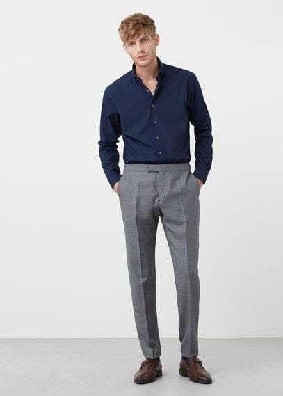Mango Outlet Bird's eye wool-blend suit trousers