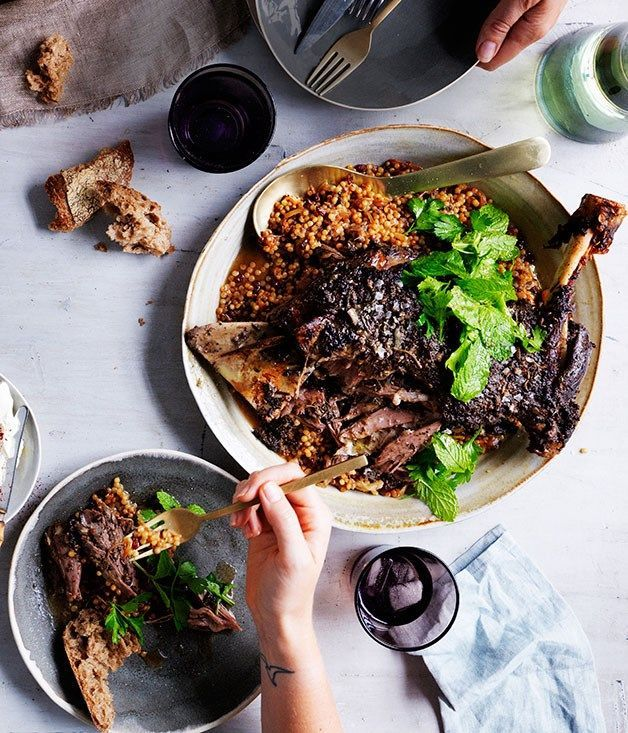 Eight-hour lamb shoulder with Israeli couscous and labne recipe :: Gourmet Traveller