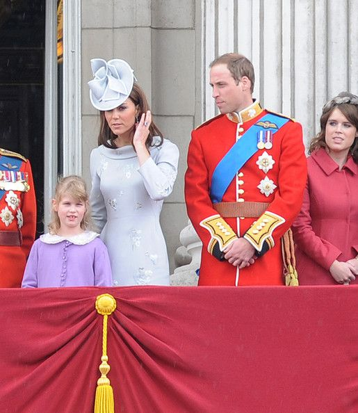 "Kate Middleton Photo - Queen Elizabeth II Duke of Edinburgh and Prince William at the ""Trooping the Colours Ceremony"" at Buckingham Palace in London"