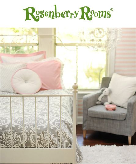 Create a sophisticated room for your little girl with the Stella Gray Kids Bedding Set from New Arrivals Inc.  This stylish bedding set features a gray and white damask pattern that is perfect for growing with your child through the years!
