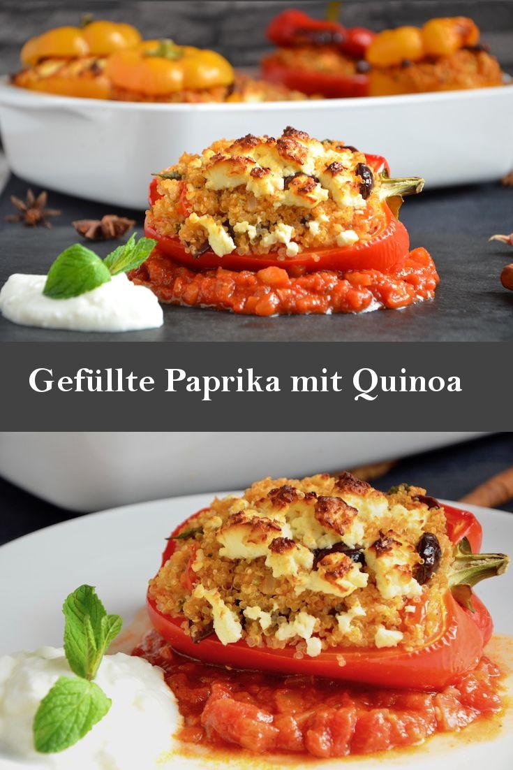 Gefüllte Paprika mit Quinoa und Schafskäse, super lecker! Diese gefüllte Paprika ist vegetarisch, ohne den Schafskäse sogar vegan. Quinoa ist eine sehr leckere Füllung für Paprika und anderes Gemüse.