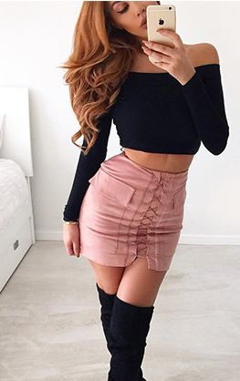Suede laced up mini casual large pocket skirt Details  Polyester Velour Imported Delicate Cold Wash Fits True To Size