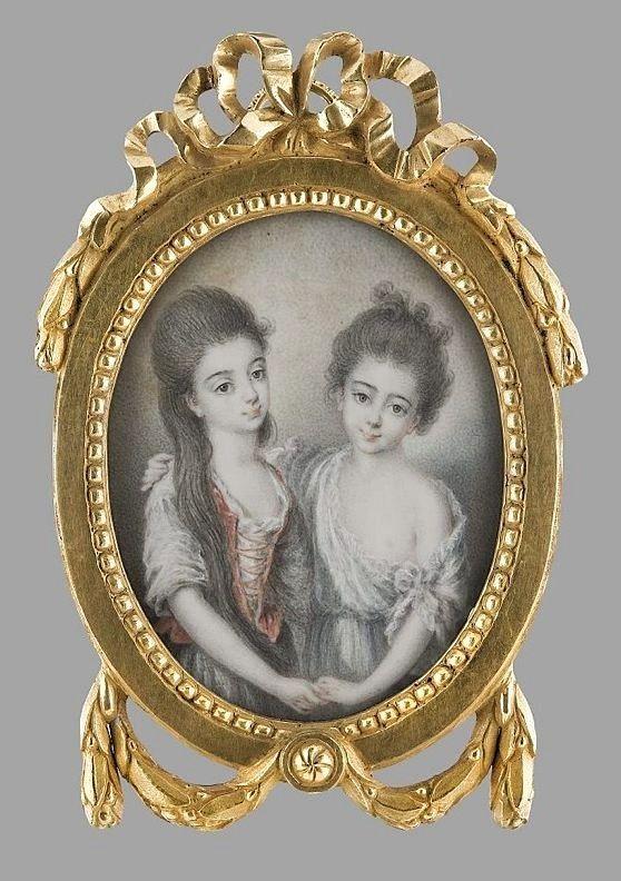 Miniature of Maria Anna and Zofia Czartoryska en grisaille by Wincenty Lesseur, 1780, Muzeum Narodowe w Warszawie (MNW)