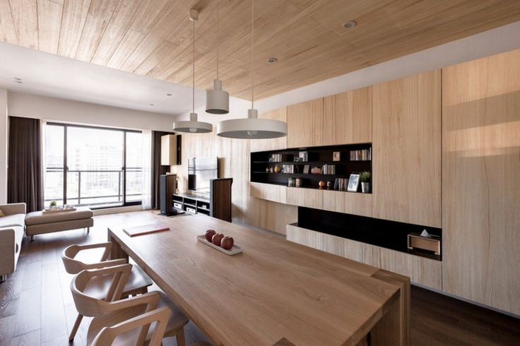 Apartment: Wood Panel Ceiling Decor Ideas Mixed With Black Built In Shelves Also Stylish White Pendant Light On Wooden Ceiling Above Bright Wooden Dining Furniture Ideas: A Modern Apartment Celebrates the Look of Natural Wood