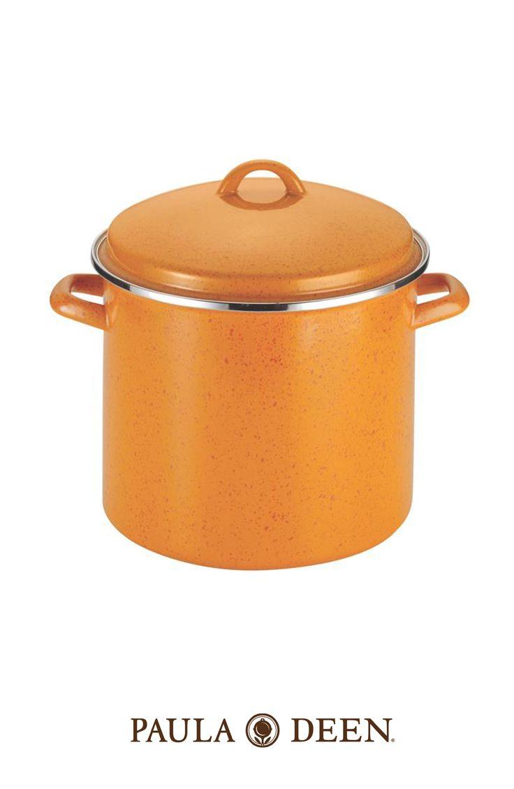 Paula Deen 12 Quart Covered Stockpot - Orange