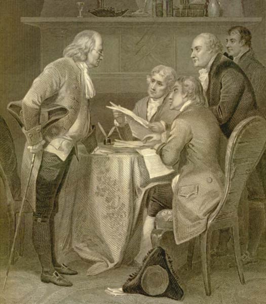 Drafting the Declaration of Independence: The Committee of Five Draft The Declaration of Independence — Benjamin Franklin, Thomas Jefferson, John Adams, Robert Livingston & Roger Sherman: