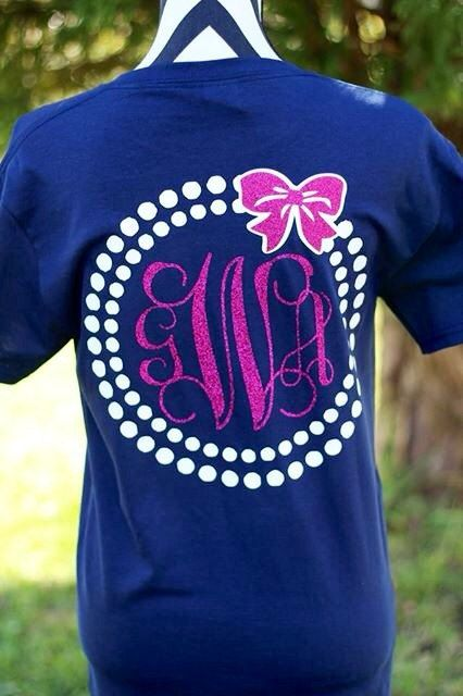 Monogrammed pearl bow t shirt by CarolinaSilhouettes on Etsy