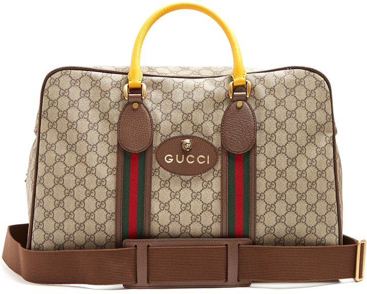 GUCCI GG Supreme canvas and leather holdall Klick to see the Price #men #fashion #male #style #menfashion #menwear #menstyle #clothes #boots #man #ad