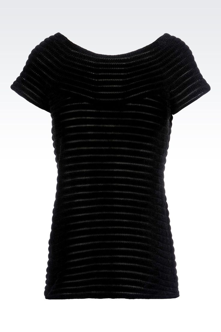 T Shirt Manches Courtes Femme Emporio Armani - PULL EN CHENILLE EFFET RAYÉ Emporio Armani Online Store Officiel