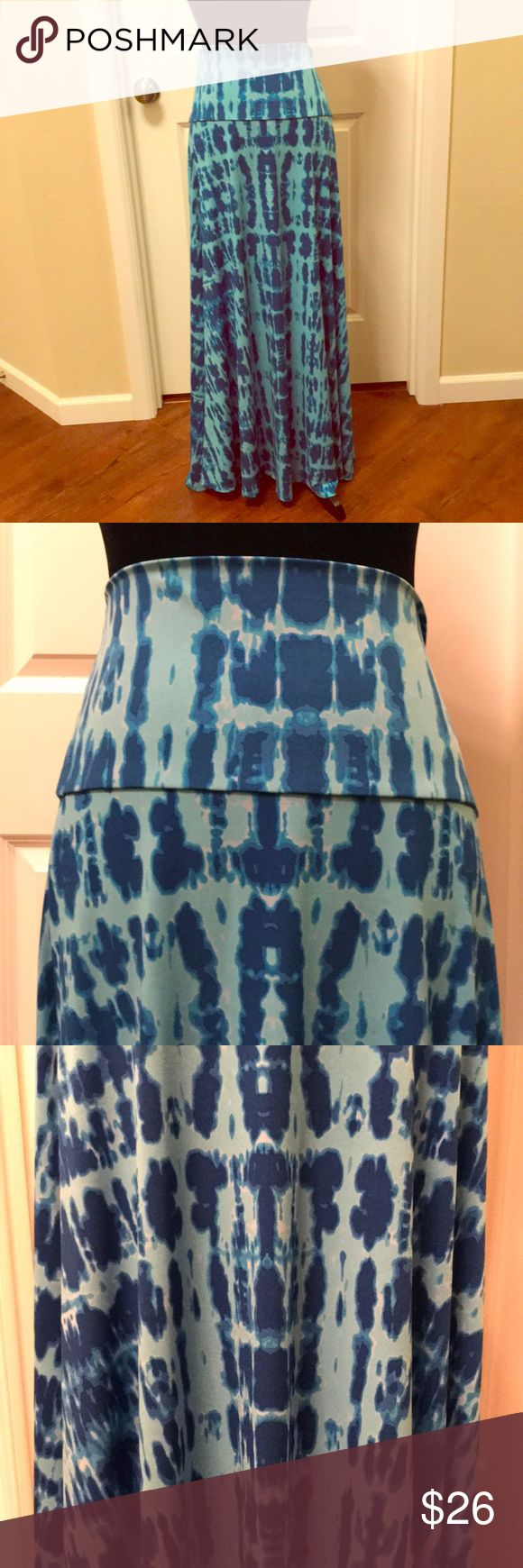 LuLaRoe Maxi Skirt 💐💐 Beautiful tie dye look with foldable yoga waistband💐Very flowy 💐Can be used as a strapless dress 💐Size tag is XL ...use size chart XL is equal to a size 20/22 💐EUC LuLaRoe Skirts Maxi
