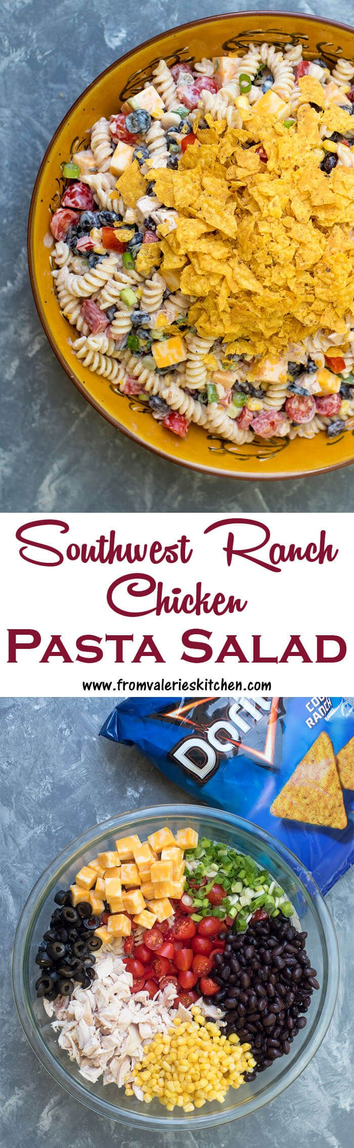 This Southwest Ranch Chicken Pasta Salad is loaded with vibrant, flavorful ingredients, tossed with a creamy salsa Ranch dressing and topped off with crushed Doritos®. A fun choice to make and take to any summer gathering. #ad #SayYesToSummer @fritolay