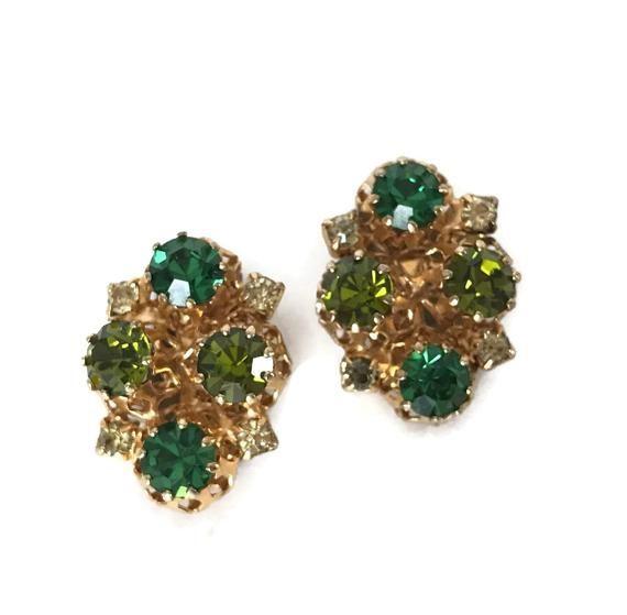 Rhinestone Clip On Earrings Vintage Green Rhinestones Gold Tone Metal Costume Jewelry Earring Austrian Crystal