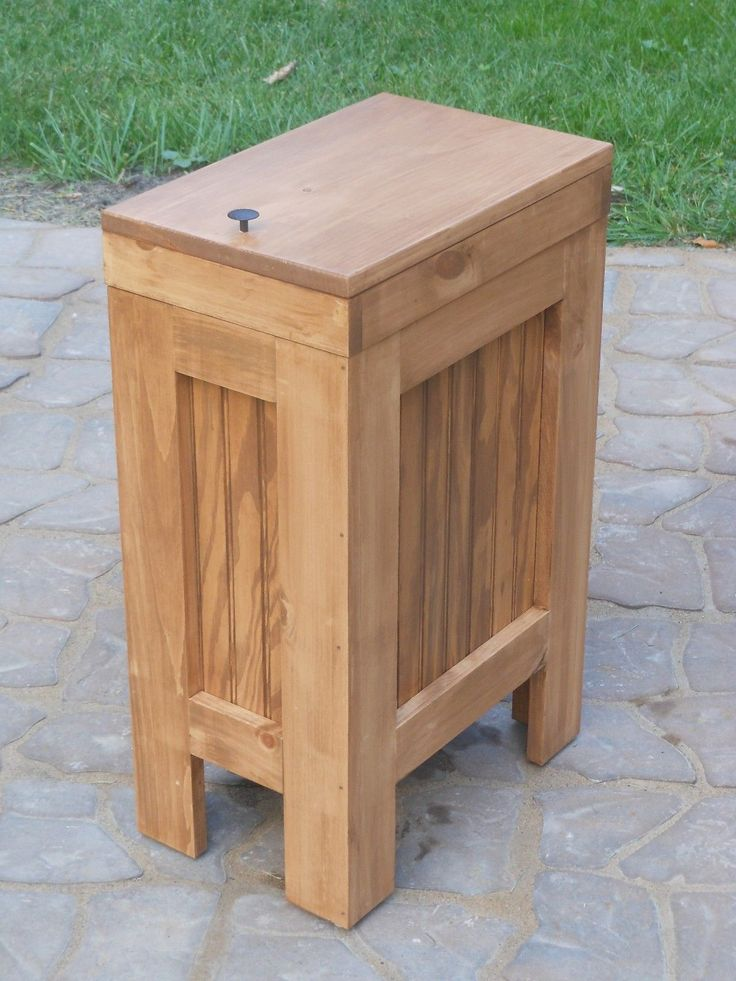 wood wooden kitchen trash can wastebasket recycling bin
