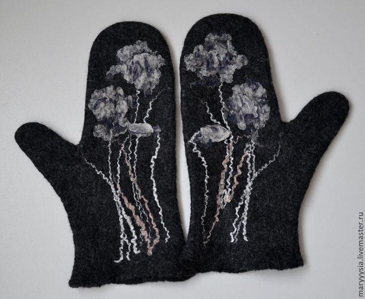 """Купить варежки """"зимние цветы"""" - варежки, варежки ручной работы, варежки женские, варежки из шерсти"""