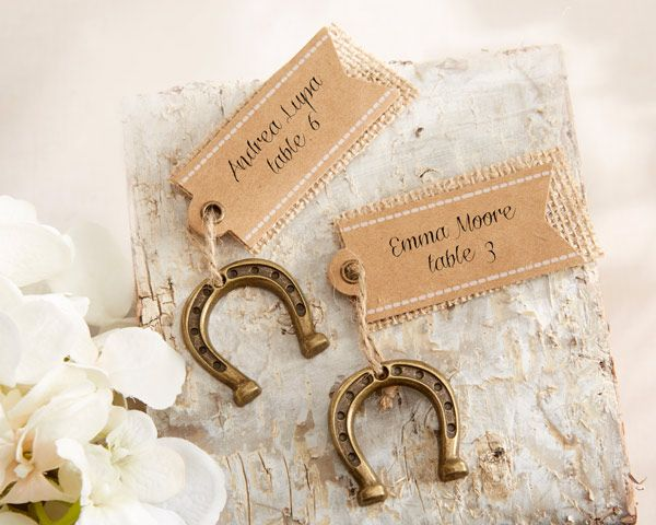 Lucky in Love Horseshoe Place Card Holders (Set of 6) (Kate Aspen 11252NA) | Buy at Wedding Favors Unlimited (http://www.weddingfavorsunlimited.com/lucky_in_love_horseshoe_place_card_holders_set_of_6.html).