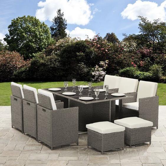 10 Sitzer Gartengarnitur Williamston Mit Polster In 2020 Garten Essgruppe Sonnenschirm Garten Rattan Gartenmobel