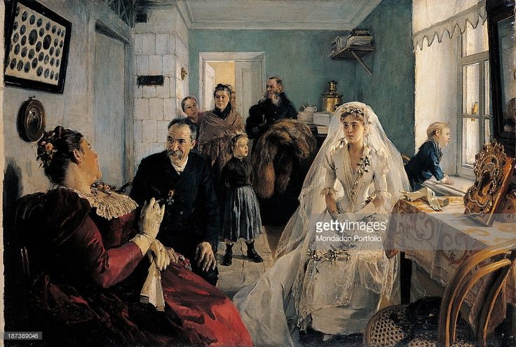 Russia, Serpuchov, History and Art Museum, All, Bride waiting for the best man, The young woman wears a veil and a dress decorated with flowers, A boy leans on the windowsill, The room is lit by the light coming through the window, .