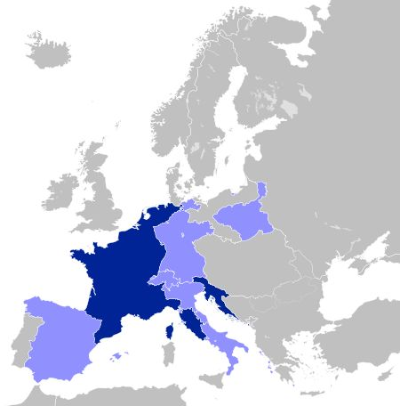The First French Empire at its greatest extent in 1812