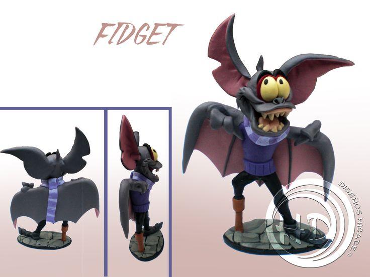 """Figura de Fidget, el secuaz de Rátigan, el villano de """"Básil, el ratón superdetective"""" de Disney. Figura de 12-13 cm aprox. Hecha totalmente a mano. Materiales: arcilla polimérica FIMO."""