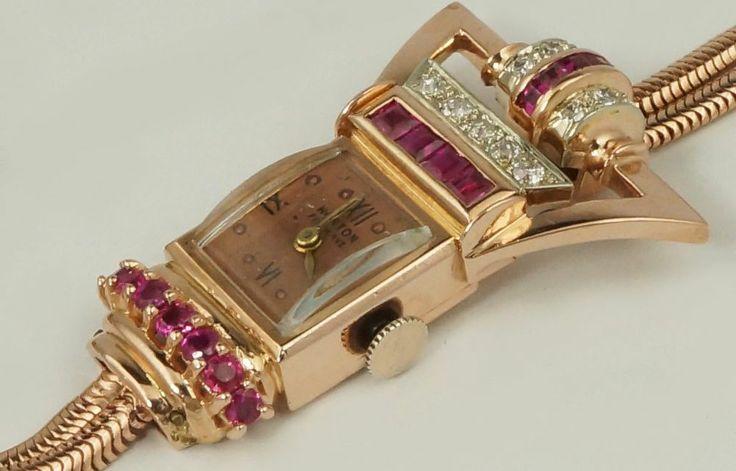 Rare Retro 1940s Horton Fifth Ave 14K Pink Gold, Diamond & Ruby Lady's Watch #Horton