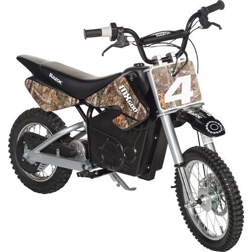 the razor kids dirt rocket mx500 realtree camo electric dirt bike features a high
