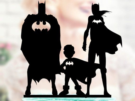 Batman And Batgirl With Kids Super Hero Family Topper Superhero Silhouette Superhero Topper Ac Superhero Silhouette Batman And Batgirl Batgirl