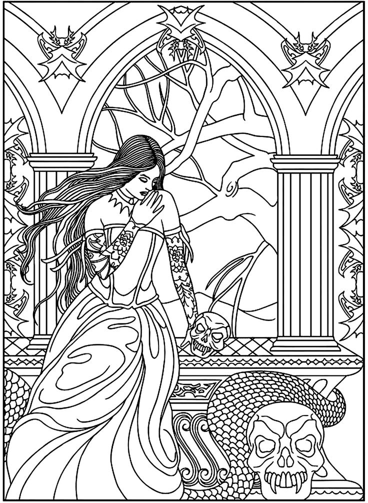 Free coloring page coloring-adult-fantasy-woman-skulls-snake. A mysterious woman with a snake and skulls