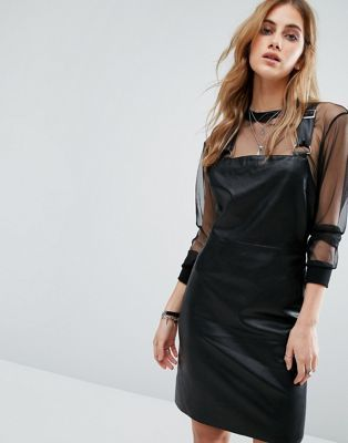 Noisy May Leather Look Dungaree Dress