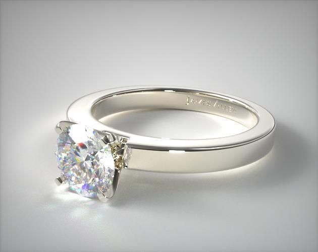 18k White Gold Flat Edged Diamond Solitaire Engagement Ring | 11193W - Mobile