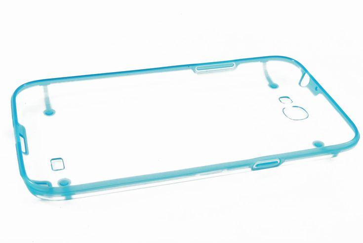 Чехол кейс прозрачная крышка, силиконовая рамка Samsung N7100 Galaxy Note 2 (голубой)  Чехол кейс прозрачная крышка, силиконовая рамка Samsung N7100 Galaxy Note 2 (голубой)