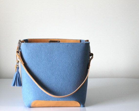 De nieuwe zak van de emmer met kwast, Hobo zak, Tote tas, Casual handtas, vilt en Leather Bag
