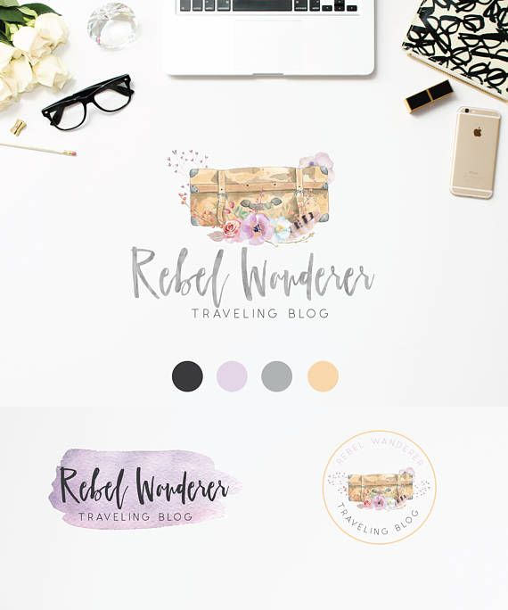 Suitcase Travel Blog Logo Design Watercolor Logo Travelling
