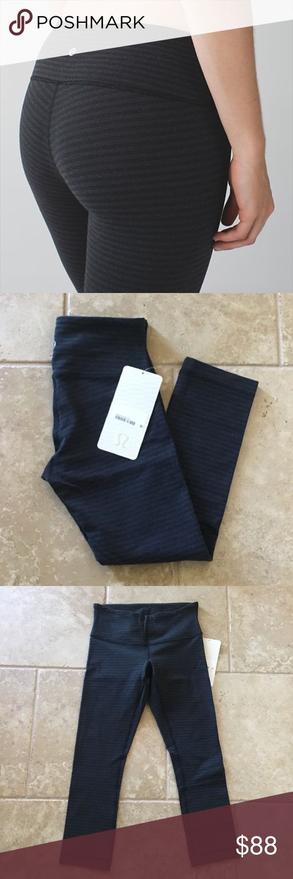 Lululemon Wunder Under Crop Lululemon wunder under crop in luon pique black dark slate. Size 4. NWT. 🚫NO TRADES🚫 I only sell through Poshmark. lululemon athletica Pants Ankle & Cropped