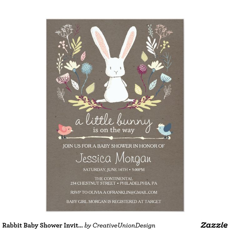 inspirational baby shower invitation wording%0A Rabbit Baby Shower Invite  Little Bunny