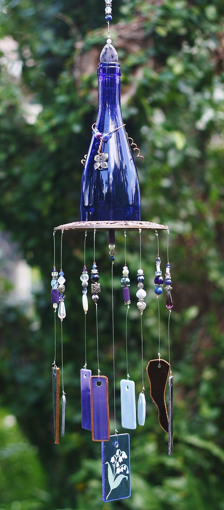 Beautiful OOAK Wine Bottle Wind Chime Once Upon A Chime Unique gift idea