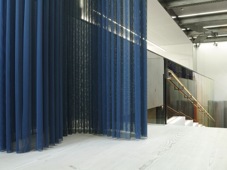 The Pilotis installation in Kvadrat's London showroom. Designed by London-based design studio Doshi Levien
