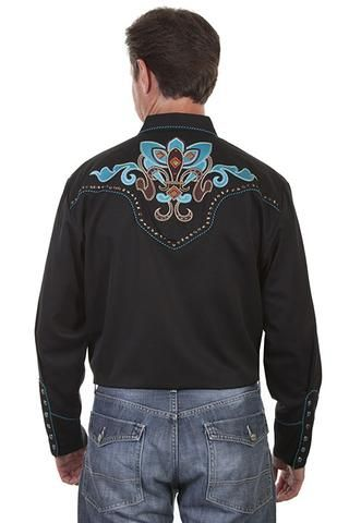 New Scully Men's Black Rayon Blend Embroidered Fleur De Lille Western – Bombshell Bettys Vintage
