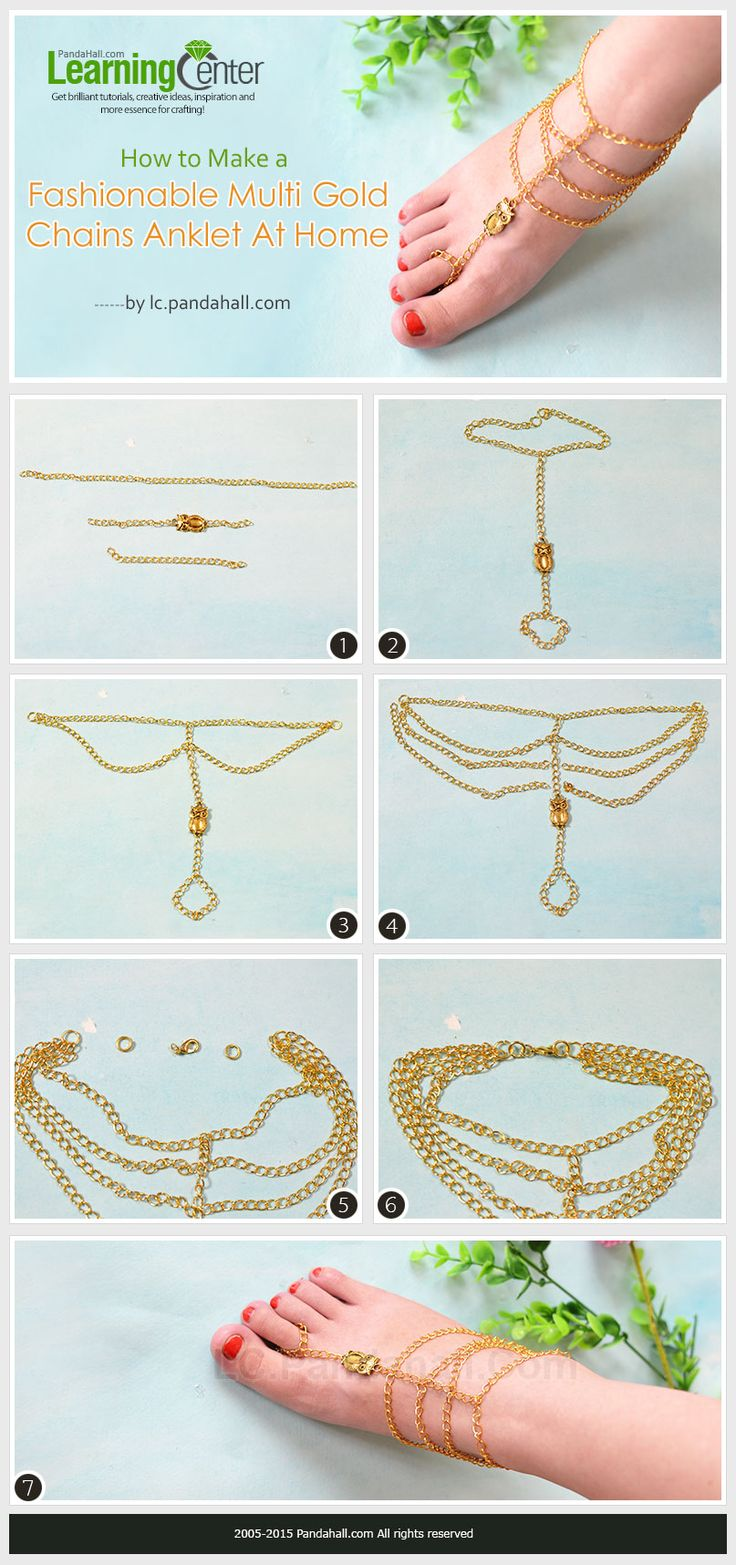 How to Make a Fashionable Multi Gold Chains Anklet At Home