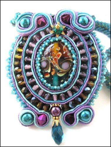 Purple Teal Honey Blue Iris Lampwork Soutache Hand Beaded Necklace | specialtivity - Jewelry on ArtFire