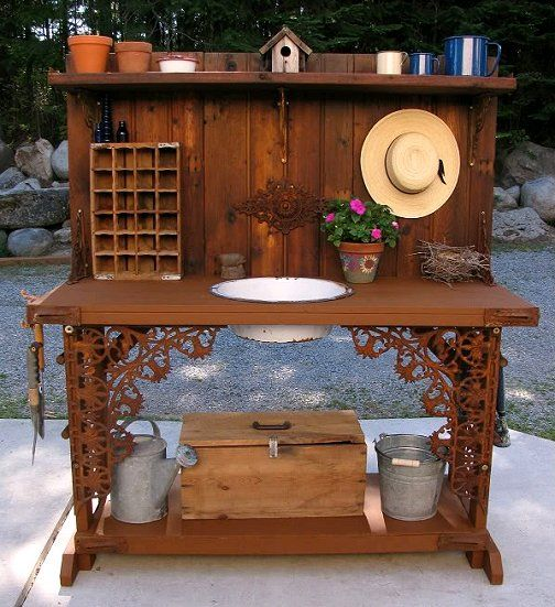 Potting Bench With Sink | This pretty bench was made from recycled finds by kirkus via Gardenweb